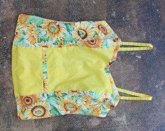 SALE Vintage Sunflower Summer TOP / Strappy Floral Blouse / Vintage Women's Clothing
