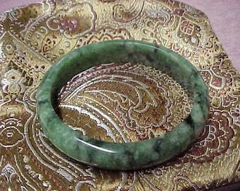 "Vintage Genuine Green Jade Bangle with Some Black Marbling, 2.25"" inside Diameter, 11MM Wide"