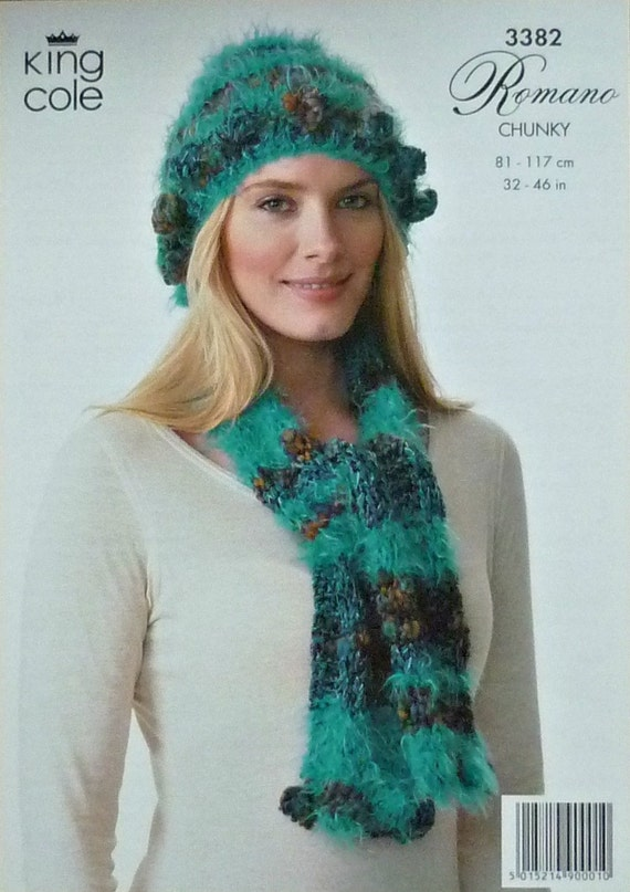 K3382 Ladies Hat and Scarf Knitting Pattern by KnittingPatterns4U