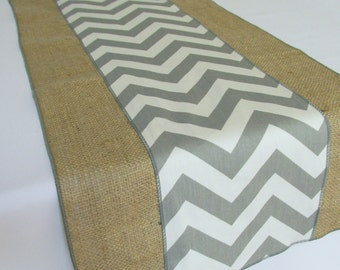 Burlap runner with Chevron accent - Select A Size