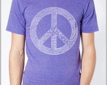 PEACE Graphic Tee Sign Symbol T Shirt Men's Women's American Apparel Unisex Tee -  Sizes xs, s, m, l, xl (cts)