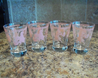 "Vintage Set of 4 Hazel Atlas ""Musical Pink Pigs"" Heavy Bottom Whiskey Glasses"