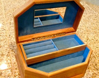 Wood Vintage  Jewelry Box with velvet lined drawer and mirror