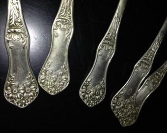 6 Rogers nickel plated silver teaspoons pat sept 11 06