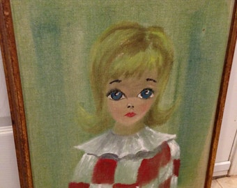 Large eyed girl painting blond hair 60s look by wiegand framed