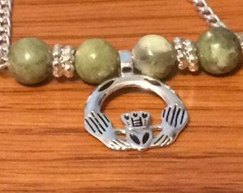 Connemara Marble Claddagh Necklace