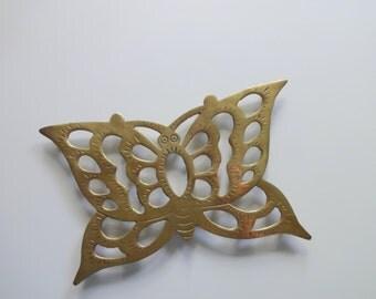 Vintage Brass Butterfly Trivet 1970s