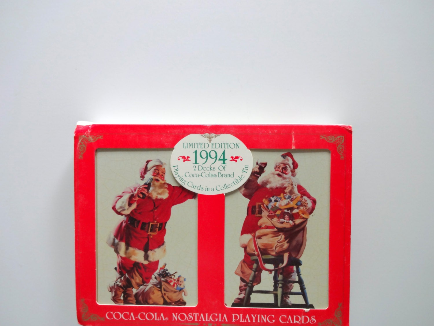 vintage dual deck of coca cola santa playing cards 1994. Black Bedroom Furniture Sets. Home Design Ideas