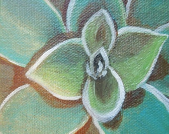 Succulent Painting is an Original Small Format Art Painting