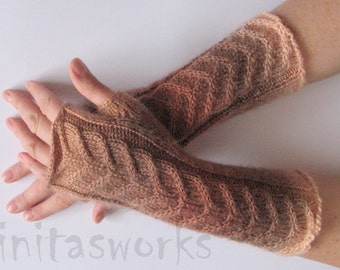 "Fingerless Gloves Brown Beige Arm Warmers 9.7"" Knit Soft"