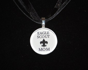 Necklace - Eagle Scout Mom glass tile necklace