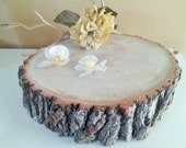 """11""""  Thick Rustic wedding cake stand -  Large Cake stand - Rustic wedding decor - Wood tree slices - Wood cake stand - Bark logs"""