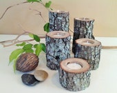 TREASURY ITEM - 5 Tree Branch Candleholders - Rustic Wedding, Holiday candles - Cabin decor - Christmas candles - Wood candles