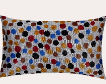 "Decorative Pillow Case, Multicolored Polka dots patterned  fabric Lumbar pillow case, fits 12"" x 20"" insert, Home Decor"