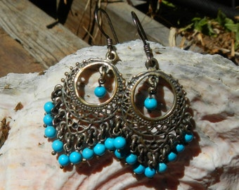 Vintage Earrings Dangle Silver and Turquoise Colored With Pierced Ear Wires