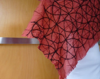 Red wrap / scarf, nuno felted,  natural designer clothing, eco friendly clothing, funky women's clothing