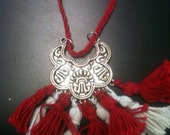 Red and white tassel necklace