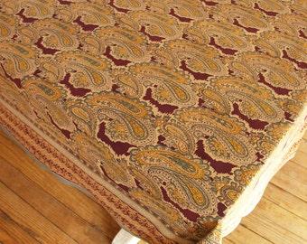 "Hand Block Printed Tablecloth  - Paisley burgundy - 55"" x 87"""