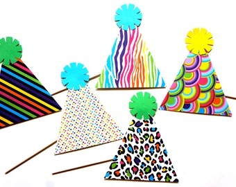 Photo Booth Props - Birthday Party Hats - 5 piece prop set - Great for Birthdays, Weddings, Parties - Photobooth Props
