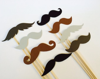 Photo Booth Props  - The Gentlemen - Set of 8 Mustaches on a stick - Black, Brown, Grey, and Charcoal - Photobooth Props Party Props