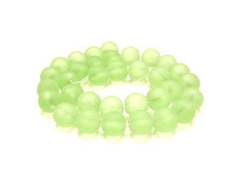 1 Strand Glass, 10mm,  Frosted, Pale Green, Spacer Beads, Sea Glass Look,  33 Beads,