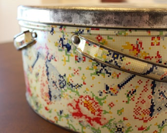 Vintage Tin Container Sewing Lunch Box Can With Handles