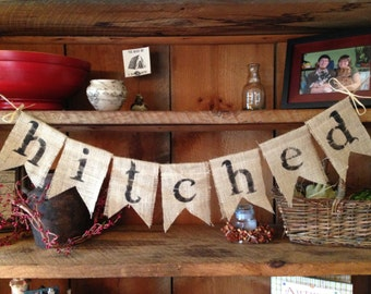 Burlap Bunting, Hitched Bunting, Wedding bunting, Wedding Decor, Wedding Banner, Wedding Photo Prop