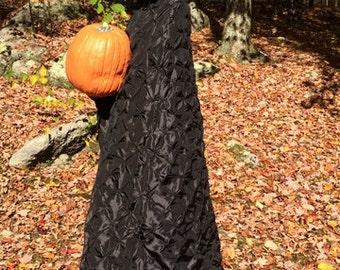 Witch Cape, Taffeta, Feather Fur On Hood