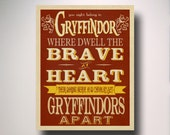 Gryffindor House Art / Harry Potter Typography / Wall Art / Hogwarts Houses Collection