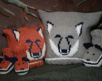 BABY KNITTING PATTERN in pdf - Fox and Wolf Cub Baby Hat and Booties