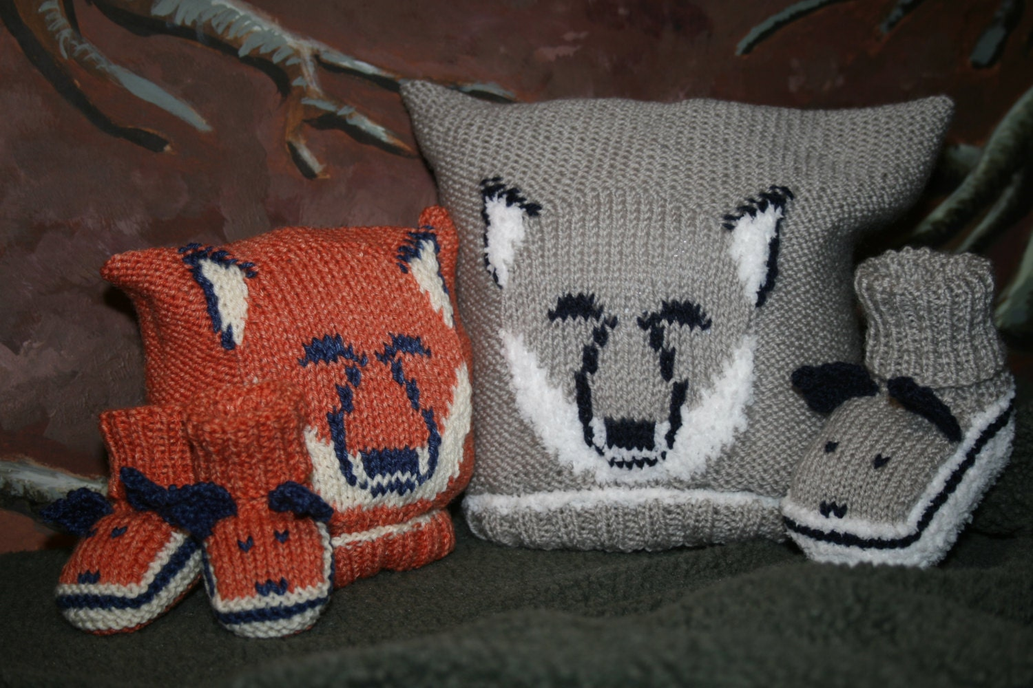 Wolf Knitting Pattern : BABY KNITTING PATTERN in pdf Fox and Wolf Cub Baby Hat and
