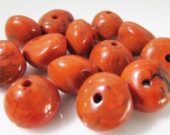 30 Vintage 9x11mm Rust-red Faux Stone Lucite Nugget Beads Bd1070