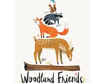 """Woodland Friends Print, 11"""" x 14"""""""
