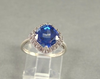 Sapphire and Diamond Halo Ring 3.40Ctw White Gold 10K 2.8gm Size 6.75 Lab Sapphire