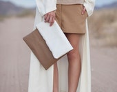 white tan color blocked panel vinyl slouchy clutch
