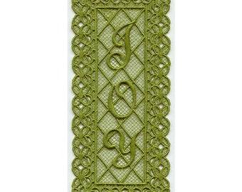 Joy Bookmark, Lace Bookmark, Machine Embroidered Joy Lace Bookmark
