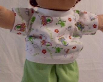 "16"" Boy Cabbage Patch Frog Print Short set"