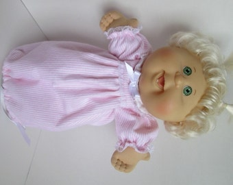 """14"""" Baby Cabbage Patch Pink and White Stripe Nightgown"""