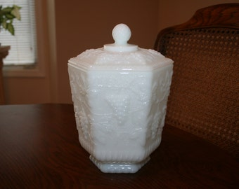 Vintage Anchor Hocking Fire King White Milk Glass Cookie Jar Biscuit Barrel Grapes Leaves Pattern Cottage Romantic Chic
