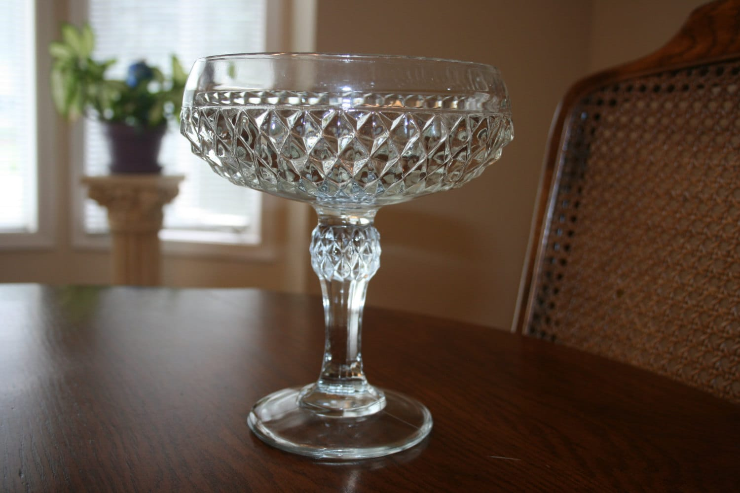 Vintage clear centerpiece glass bowl footed by novembermountain - Footed bowl centerpiece ...