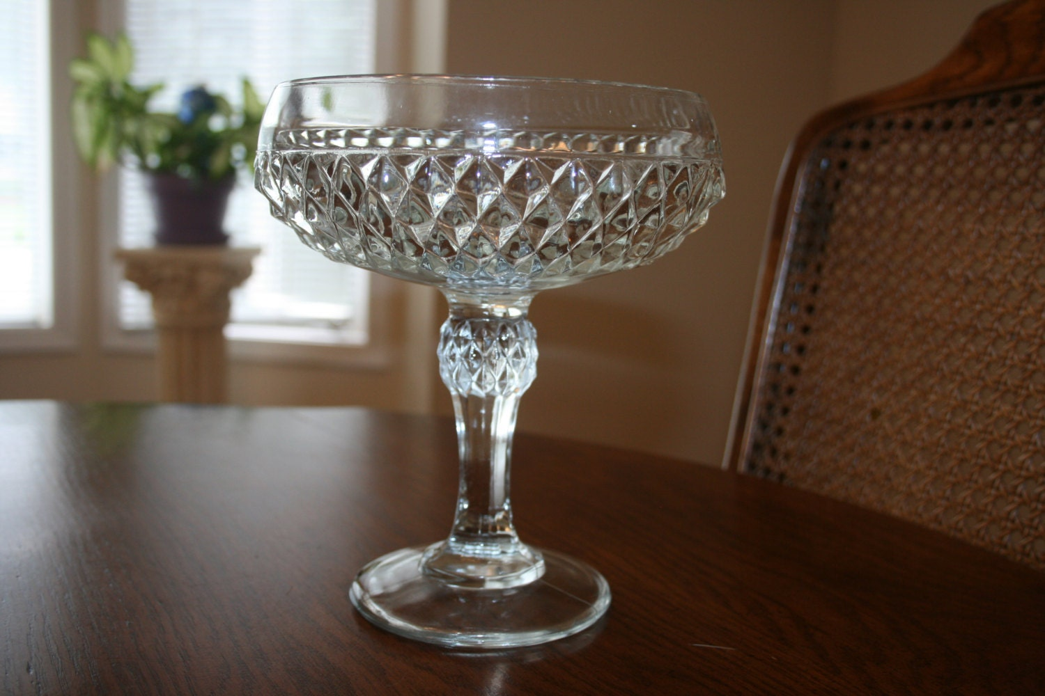 Vintage clear centerpiece glass bowl footed by