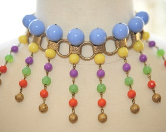 SALE Handmade Vintage Dripping Colors Drop Necklace