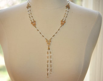 Handmade Vintage Brass and Crystal Sparkly Necklace
