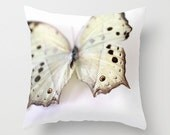 """Decorative Pillow Cover, Photo Pillow Case Accent Pillow Butterfly Pillow Mother of Pearl Butterfly, Nature Pillow, Entomology, 16 18 or 20"""""""
