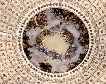 Rotunda 2- Fresco Photography, Apotheosis of Washington, US Capital Photo, Rotunda Photograph, Washington DC Photo, 8x12 Fine Art Print