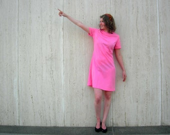 Vintage pink 1960s dress sixties hot pink dress minidress