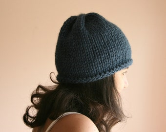 Blue Knit Beanie - Fashion Hat - Beret - Fall Winter Fashion - Women Teens Accessories