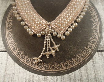 """Vintage 1950""""s  Handmade faux pearl Collar / Made in Japan / Faux Pearl Necklace"""