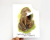 Hungry Sloth Card, Funny Greeting Card, Personalized Card, Valentines Day Card, Blank Greeting Card, Custom Card, Birthday Card