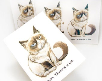 SALE: Grumpy Cat Card Set of 4 Thank You Card, Personalized Message, Custom Name, Note Cards, Sarcastic Greeting Cards, Funny Cards